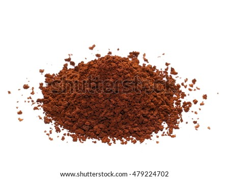 Pile of instant coffee grains isolated on white background