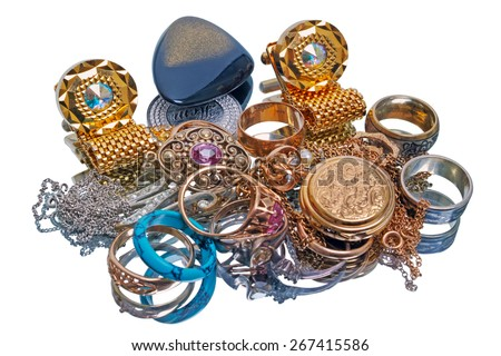 Pile of jewelry isolated on white background. The quality of medium format - stock photo