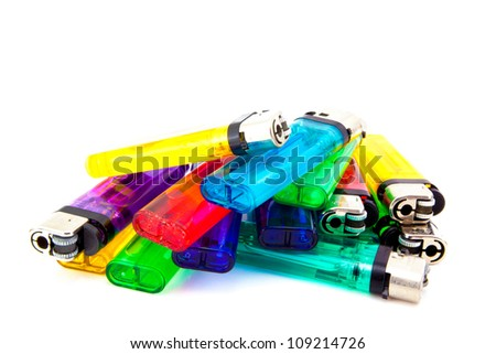 pile of lighters - stock photo