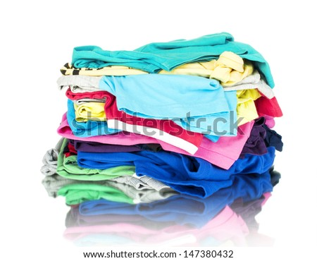 Pile of linen kitchen towels on a white background - stock photo