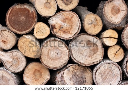 Pile of logs cut for firewood - stock photo