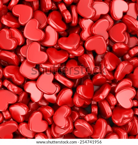 Pile of love hearts. Valentine's day background - stock photo