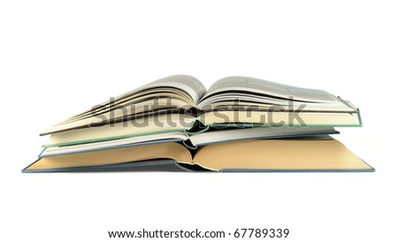 Pile of luxury bound open books isolated on white