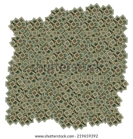pile of many old dirty chips isolated on white background - stock photo