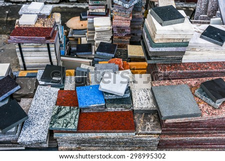pile of marble texture - granite layers design gray stone slab surface grain rock backdrop layout industry construction - stock photo
