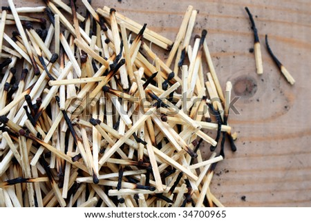 Pile of matches on the wooden floor