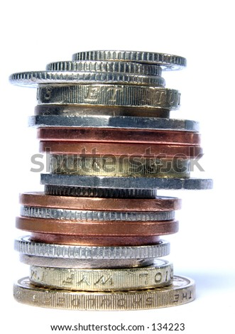 Pile of mixed coins - stock photo