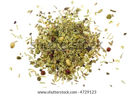 Pile of mixed herbs isolated on white background - stock photo