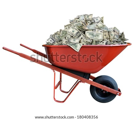 Pile of money in a wheel barrow - stock photo