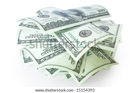 pile of money isolated on white