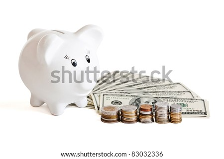 pile of money & piggy bank on a white background - stock photo
