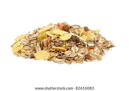 pile of muesli  isolated on a white background - stock photo