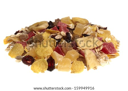 pile of muesli isolated on white background