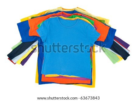 Pile of multicolored mixed casual clothes on white background. - stock photo