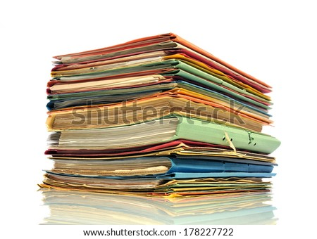 Pile of multicolored office folders  - stock photo