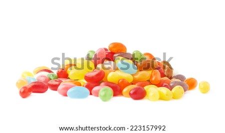 Pile of multiple colorful jelly bean candy sweets isolated over the white background - stock photo