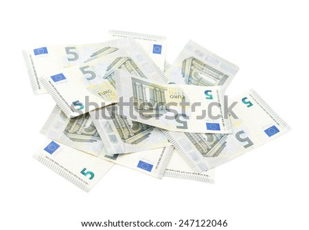 Pile of multiple five euro bank note bills, composition isolated over the white background - stock photo