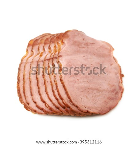 Pile of multiple ham slices isolated over the white background