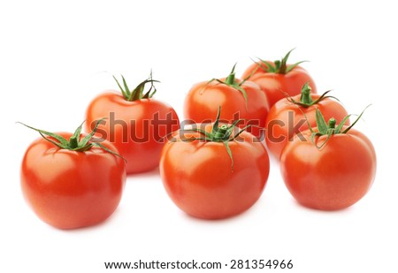 Pile of multiple ripe red tomatoes isolated over the white background