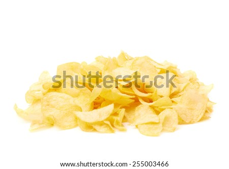 Pile of multiple wavy yellow potato chips snacks isolated over the white background - stock photo