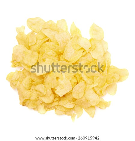 Pile of multiple wavy yellow potato chips snacks isolated over the white background, top view above foreshortening - stock photo