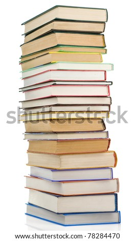 pile of new and old books isolated on white background - stock photo