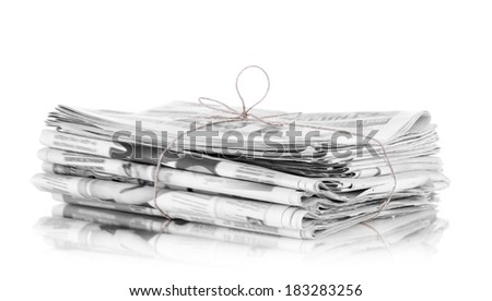 pile of newspapers, isolated on white