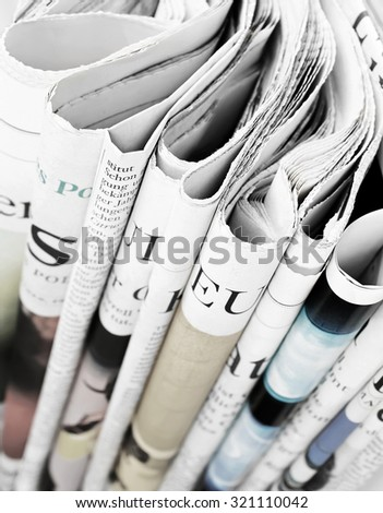 Pile of newspapers, selective focus