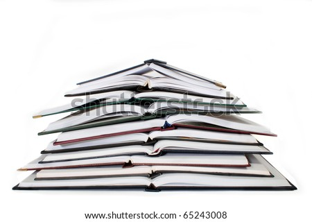 pile of notebooks on a white background - stock photo