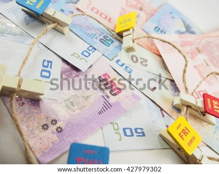 Pile of notes, collected money in everyday concept 