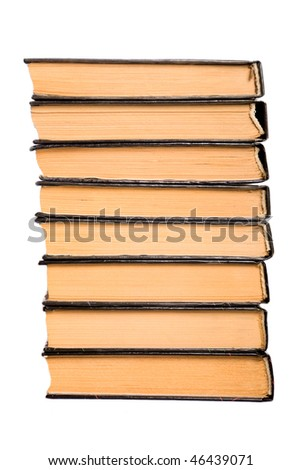 pile of old books on a isolated background