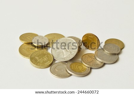 Pile of old coins of different countries and different nominal. - stock photo