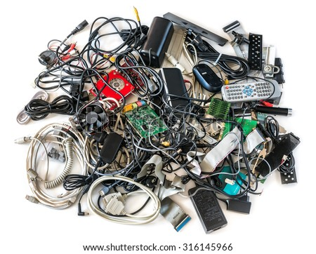 Pile of Old Computer Cables and Devices Isolated on White Background - stock photo
