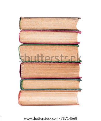 Pile of old dirty books on a white background