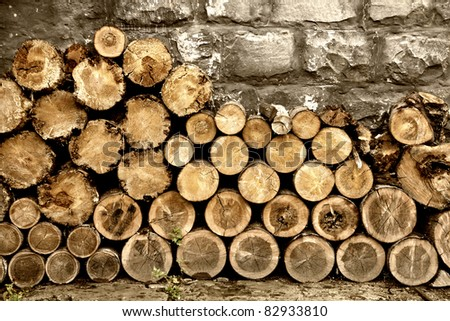 Pile of old firewood - stock photo