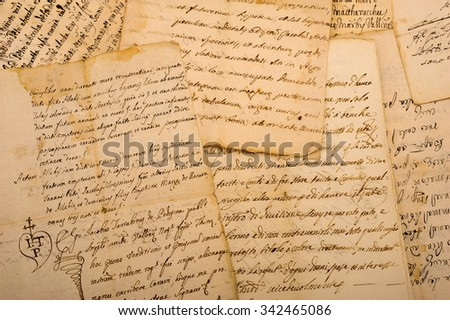 Pile of old vintage manuscripts - stock photo