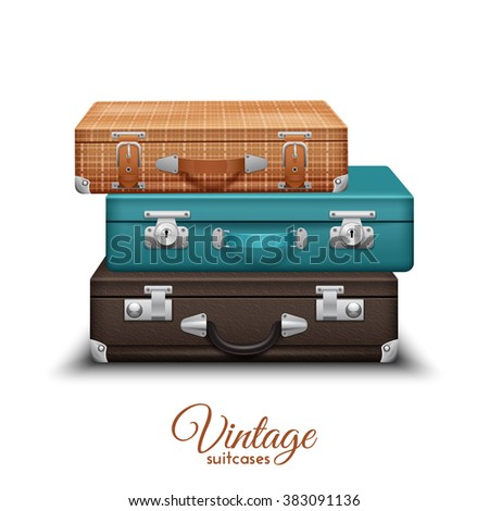 Pile Of Old Vintage Suitcases - stock photo