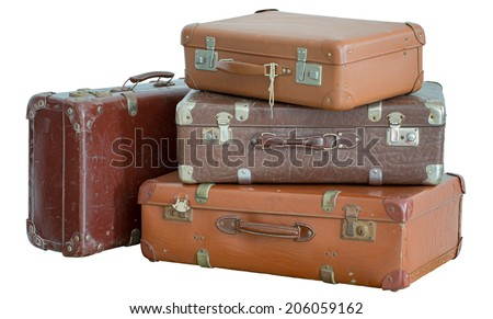 Pile of old vintage suitcases - luggage - stock photo