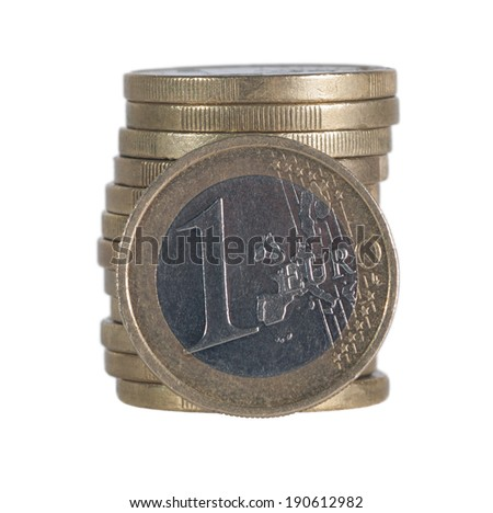 pile of one euro coins - stock photo
