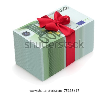 Pile of one hundred euro banknotes with red ribbon and bow, isolated on the white background, clipping path included. - stock photo