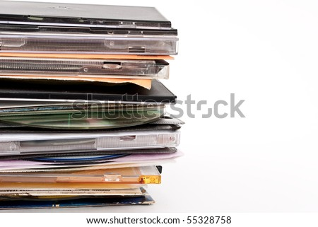 Pile of optical disc cases - stock photo