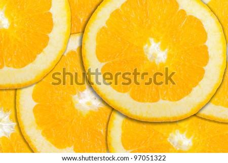 Pile of orange slices clouse up background. - stock photo