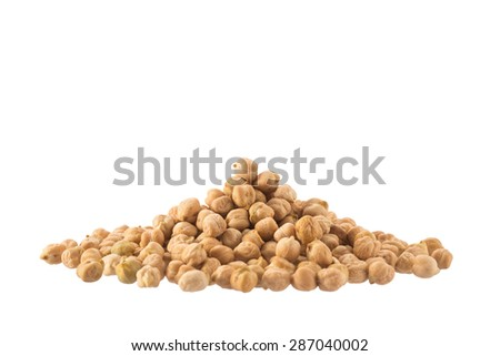 Pile of organic chickpeas isolated on white - stock photo