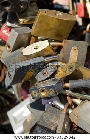pile of padlocks - stock photo