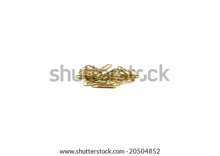 pile of paper clips isolated on white - stock photo