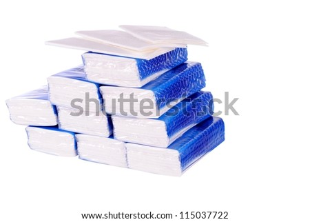 pile of paper handkerchief pockets isolated on white background