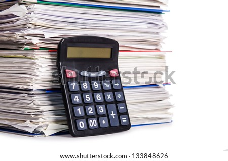 Pile of papers isolated on white - stock photo