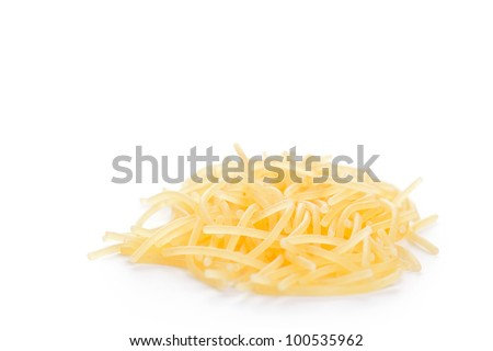 Pile of pasta vermicelli isolated on white background