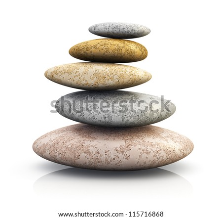 Pile of pebble stones for oriental spa massage therapy and alternative medicine isolated on white background with reflection effect