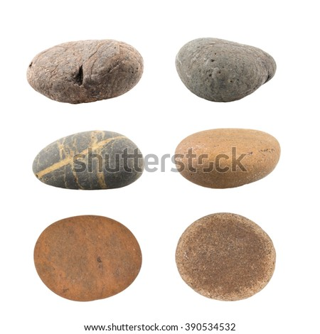 Pile of pebbles isolated on white background. - stock photo